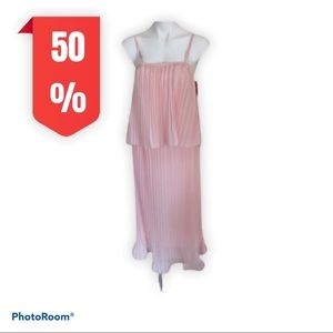 NWOT light pink dress with overlaying top